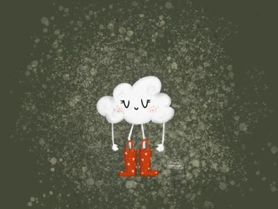 Content cloud cartoon happy rain bootstrap cloud procreate design illustration hello dribble digitalart debut