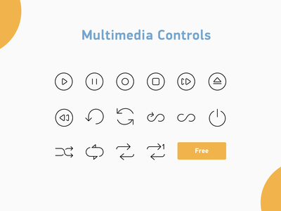 Multimedia controls icons controls media illustration design icons