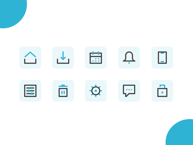 Dual color icons interface colored illustration design icons