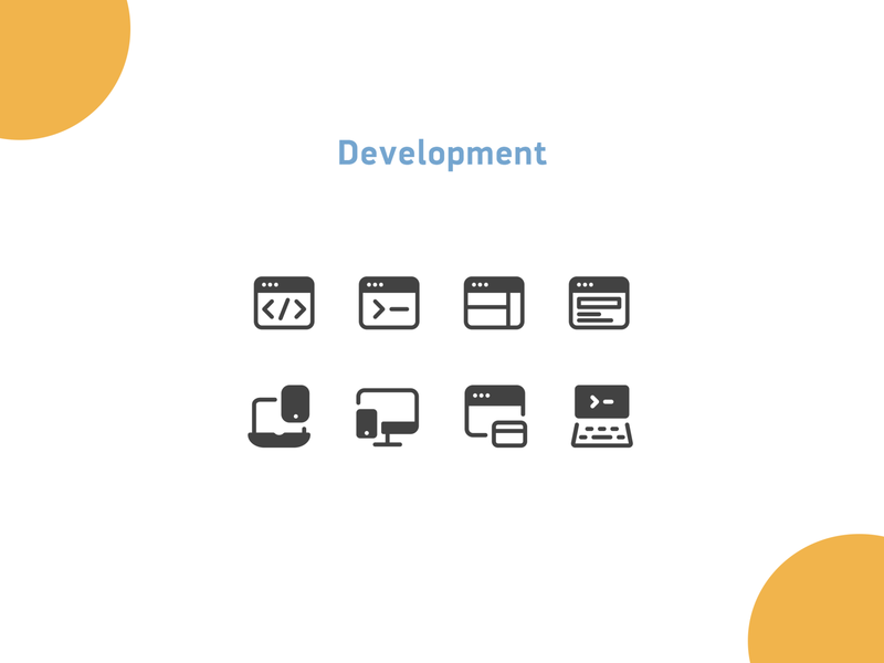 Development icons browser website web coding development illustration design icons