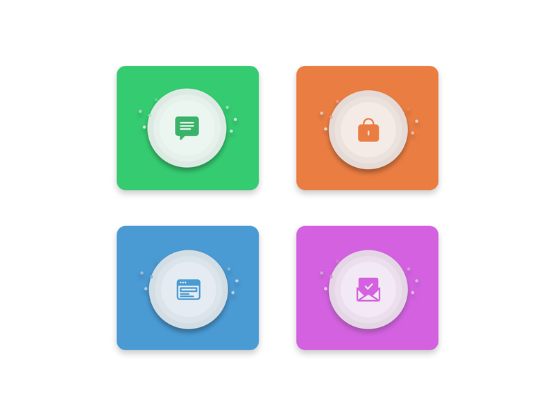 Colored flat icons! colored mail development lock message flat illustration design icons