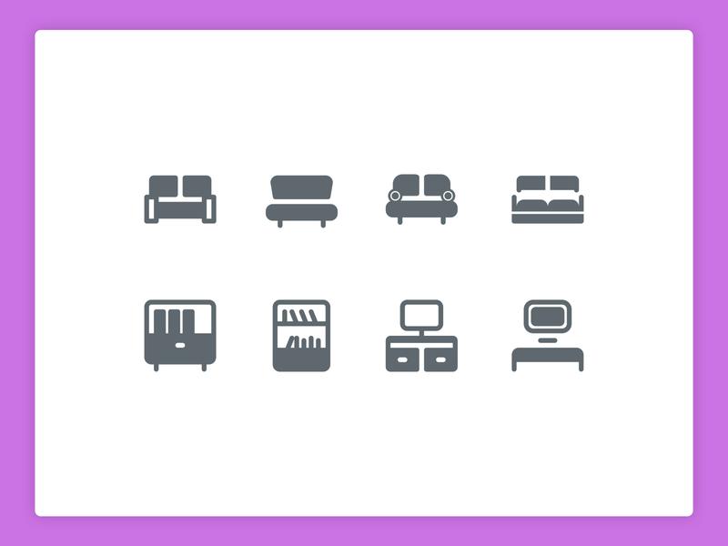 Sofa & Shelfs icons house living room shelf sofa illustration design icons