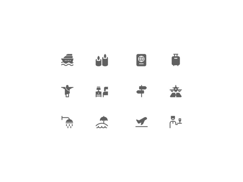 Hotel-Travel icons tourism vacation travel hotel illustration design icons