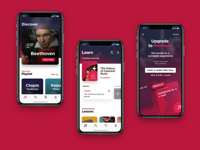 Classical music app for designflows competition paywall learn user interfacce design ui app classical music designflows19 designflows bendingspoons