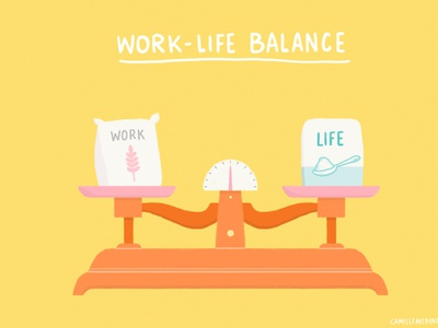 Work Life Balance analogy life work self-care well-being instagram challenge spot illustration editorial illustration digital illustration work-life balance illustration