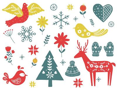 Christmas Folk Art Icons floral sticker design snowflakes reindeer folk art winter holidays winter festive icons festive illustration illustrated icons icon design spot illustration digital illustration illustration