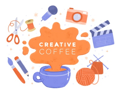Creative Coffee Leicester Logo branding coffee event friendly fun illustration fun illustrated icons icons creativity networking logo design logo illustrated logo digital illustration illustration