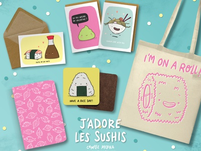 J'adore les sushis greeting card design gift stationery design stationery character design kawaii japanese food ramen merchandise illustration merchandise design mixed media humour puns pun card sushi card sushi illustration product design product illustration illustration