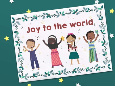 World Vision Christmas Cards gratitude joy greeting card diversity kids children singing sing foliage botanical wreath marketing materials childrens illustration christmas card christmas illustration character design