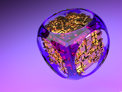 Purple Cube mockup metal cyber crypto cinema4d animation aftereffects 3d modeling 3d artist 3d