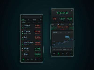 Investment Portfolio Mobile App - Dark Mode