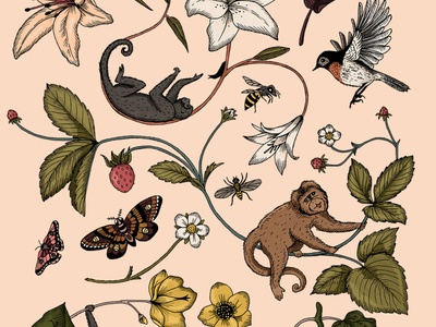 Monkeys strawberry animal nature lilly monkey pattern art digital art illustration drawing