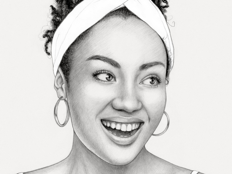 Girl art girl african woman african black and white portait pencil drawing