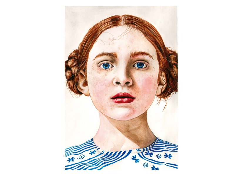 Sadie Sink portrait portraits girl artist art stranger things sadie sink watercolor painting watercolor illustration