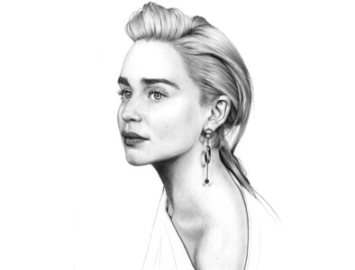 Emilia Clarke Drawing pencil drawing art realistic drawing emilia clarke girl woman portrait black and white illustration drawing