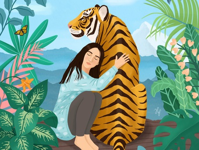 TIGER painting peaceful tropical jungle tiger girl nature cat woman portrait animal digital art drawing illustration