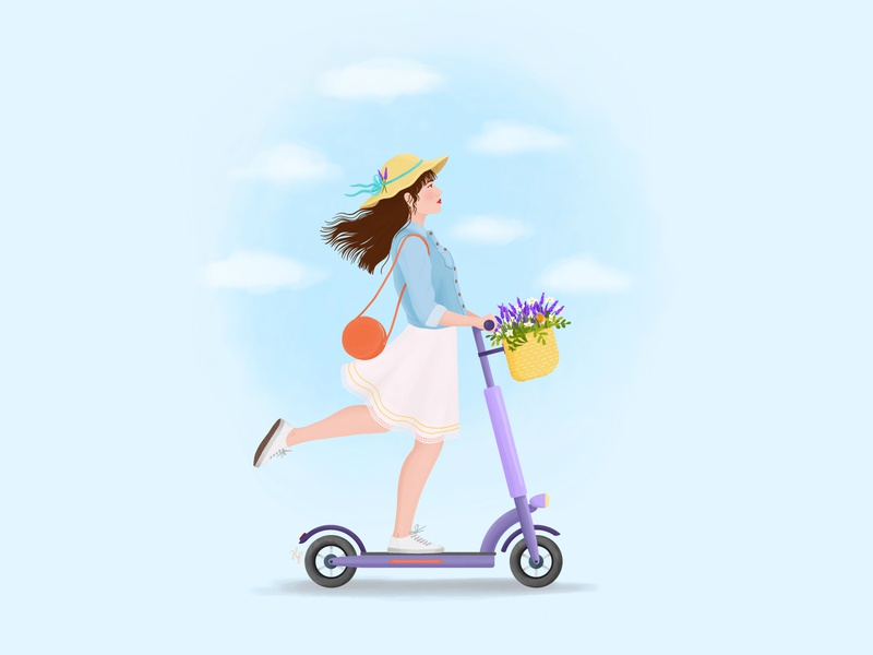 Girl on a Kick Scooter city life vacation summer flowers kick scooter art woman portrait girl digital art illustration drawing