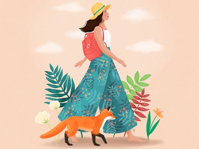 Fox fox voyage summer nature animal woman portrait girl art digital art illustration drawing