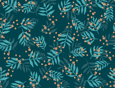 Leaves and flowers - seamless pattern flowers leaves blue fabric design surface design pattern botanical floral plants art digital art
