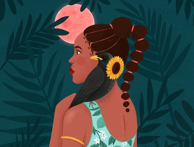 African princess tropical nature animal woman portrait art girl digital art illustration drawing