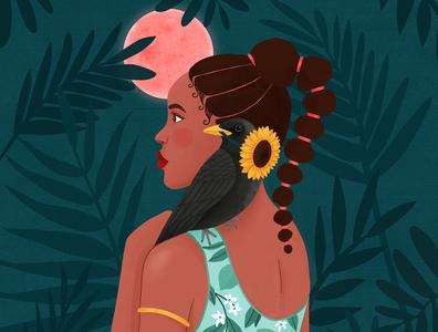 African princess tropical nature animal woman portrait art girl digital art illustration drawing