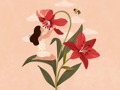 Flower girl - Lily pink lily bee art portrait nature woman drawing illustration digital art girl flower