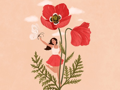 Flower girl - Poppy painting drawings flower poppy summer woman art girl digital art illustration drawing