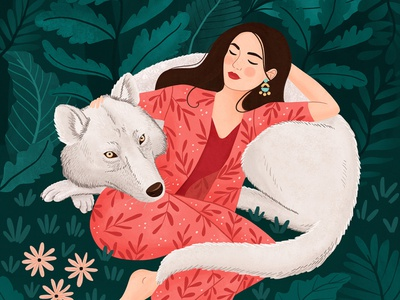 Wolf forest animal wolf painting nature woman art girl digital art illustration drawing