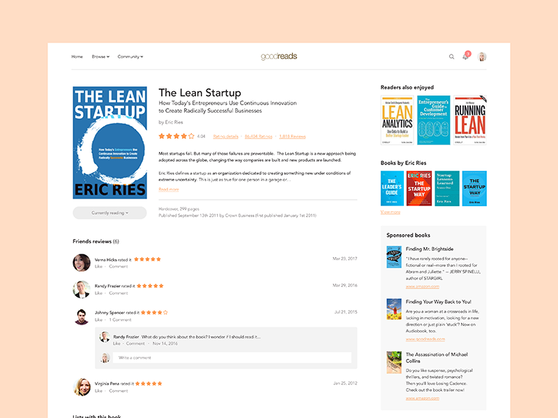 #23 - UI of the day freebies sketch download landing page website simple ui template sketch redesign goodreads daily ui