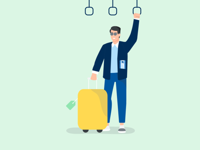Travelling illustration suitcase luggage travelling subway trains mint colorful flat illustration ui illustration webinar websites chill happy man free time passport vacation world travel digital illustration