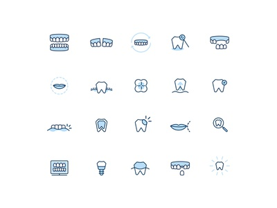 Dental service icons ui flat iconography cavity tooth broken tooth magnifying glass lips mouth dentures oral care dental scan x-ray teeth stethoscope hygienist doctor dentist healthcare dental icon icon set