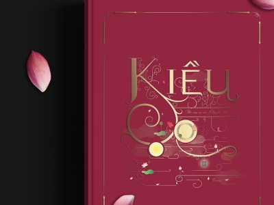 Kiều book cover illustration drawing typeface custom type typography linework elaborated traditional lotus poetry vietnamese asian art digital art spot illustration digital illustration book cover