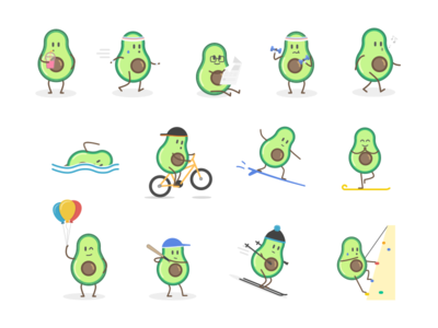 Guakka Stickers #2 ski cute emotions emojis sport stickers stickers for imessage illustration guacamole character avocado guakka