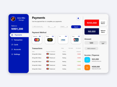 Payment Dashboard webdesign creative ui ux