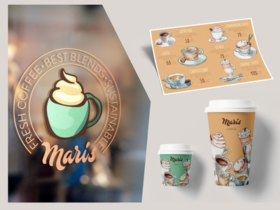 Maris - complete branding 2 sustainable drink product designs product design package vector design illustrator illustration logo coffee logo graphic design graphicdesign fresh coffee packaging coffee caffee brewery branding and identity branding