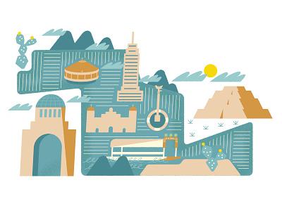 Mexico City map mexico city mexico illustration