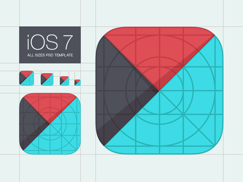 Template For IOS 7 App Icons Apple Touch Ios Grid Icon Rounded Corners