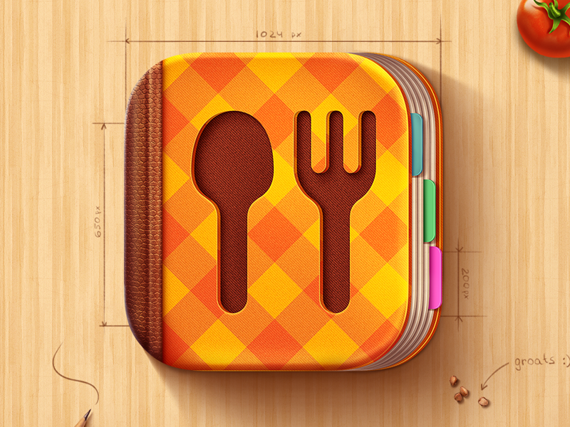 Cook Book iOS Icon cook book cook ipad iphone ios7 apple ios icon m18 fork spoon illustration