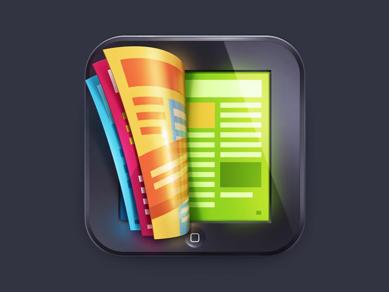 Magazine iOS Icon illustration m18 icon ios apple ios7 iphone ipad book magazine
