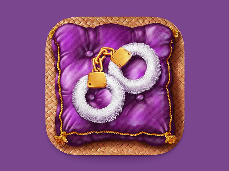 Handcuffs iOS Icon ipad iphone ios7 apple ios icon m18 pillow handcuffs sexy gold cloth