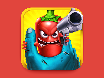 Chili vs. Zombies iOS Icon illustration m18 icon ios apple iphone ipad gun chili zombie vegetable crazy