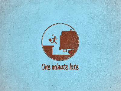 One minute late logo logolife late train minute running man m18