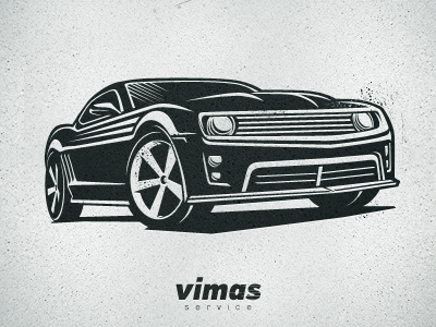 Vimas Service Center logo stencil vector illustration t-shirt transport camaro auto car drive driver vehicle letterpress roadster m18