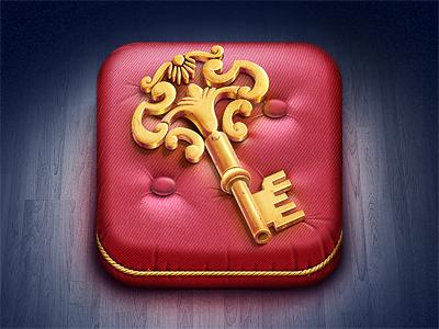 Golden Key iOS Icon gold pillow key icon app application ios apple ipad iphone itunes illustration techdesign mystery manor game m18