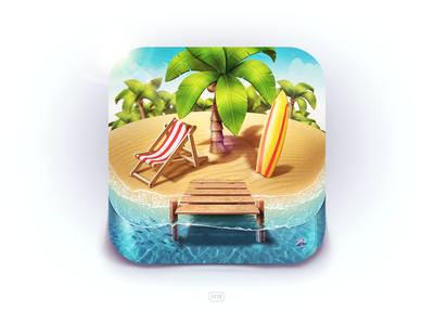 Paradise Island iOS Icon island palm sand coconut summer beach surfing surf board lounge water berth fish star game sea ios icon app m18