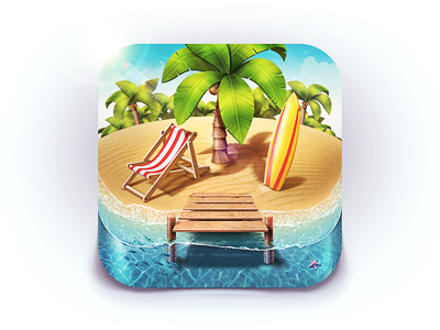Paradise Island iOS Icon island palm sand coconut summer beach surfing surf board lounge water berth fish star game sea ios icon app m18