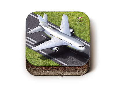 Airport City iOS Icon ios icon wind ground grass cut cutout fly plane airport m18