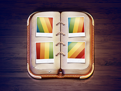 Album iOS Icon album photo polaroid caption rainbow leather metal paper book ios. icon ios icon gallery m18