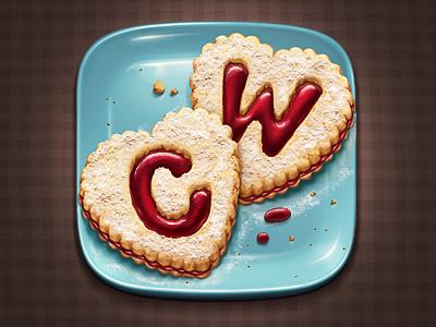 Cookie 2.0 sweet jam plate ios icon cookie cook crumbs powder m18