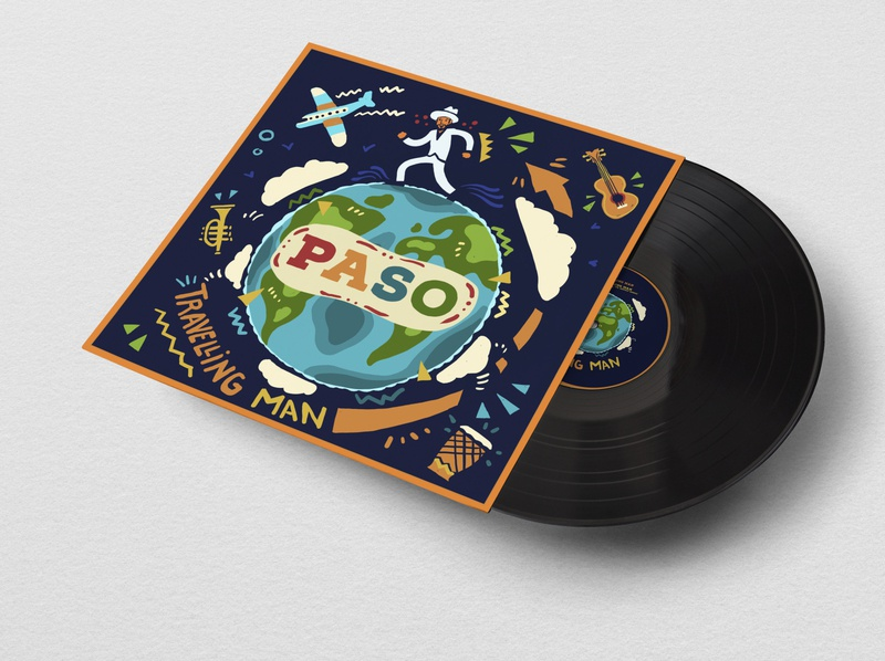 P.A.S.O. Travelling man EP cover art music album illustration album cover art album cover album art illustraion illustration art music design